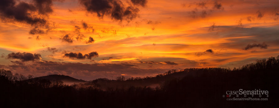 Fiery Foggy Sunset Panorama